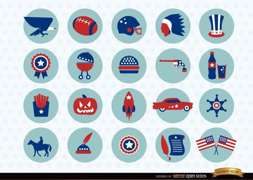 USA nationale Symbole Icons Pack