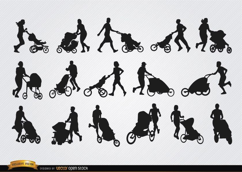 Pais com silhuetas de carrinho de bebê