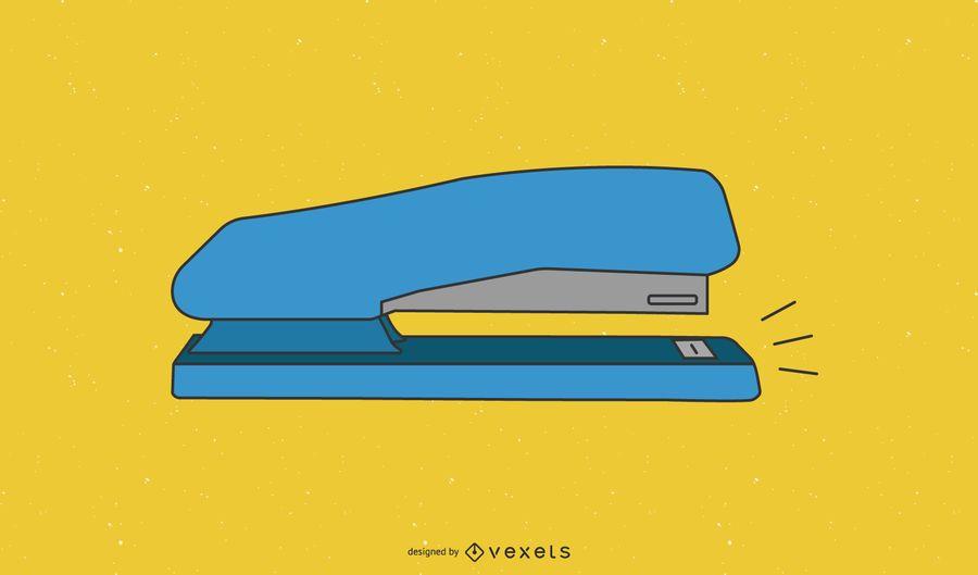 Grapadora azul de una herramienta fija de oficina