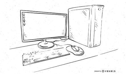 PC de escritorio con contorno en blanco y negro
