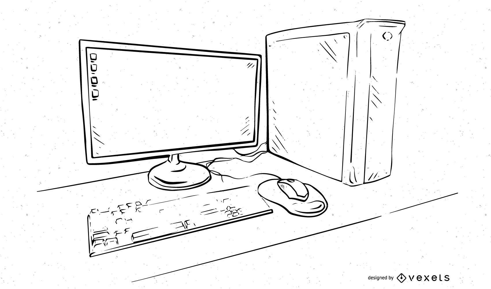 Outlined Black & White Desktop PC