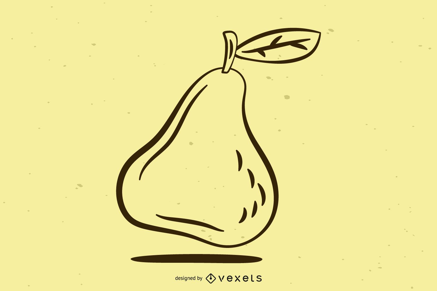 Black & White Pear Line Art with Leaves