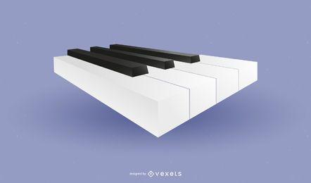 Ícone brilhante de teclas de piano em 3D