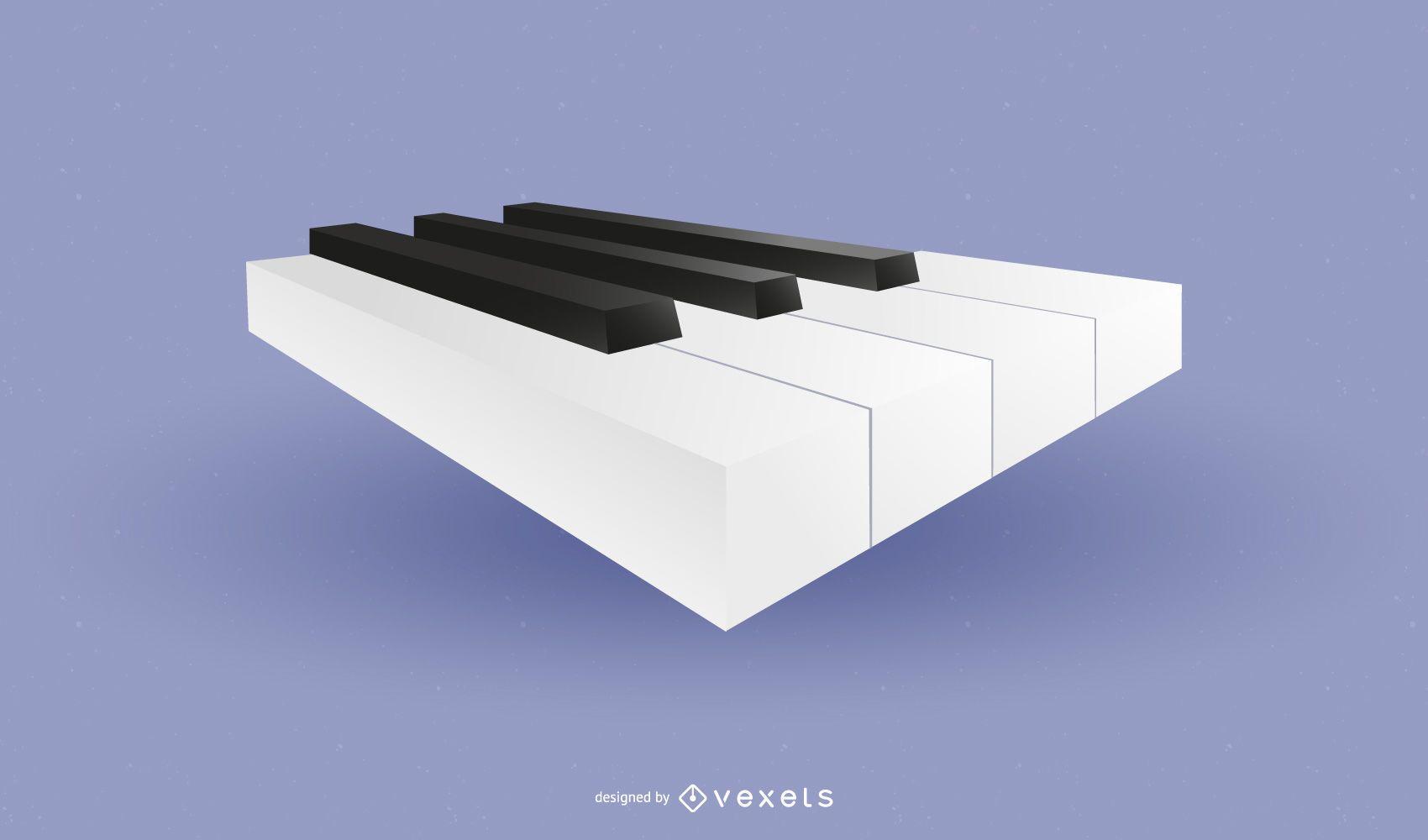 Icono de teclas de piano brillante en 3D