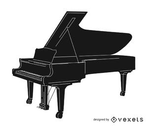 Silhueta de piano preto e branco