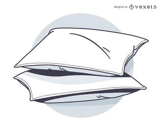 Esboço de travesseiro e permite ir para um sono