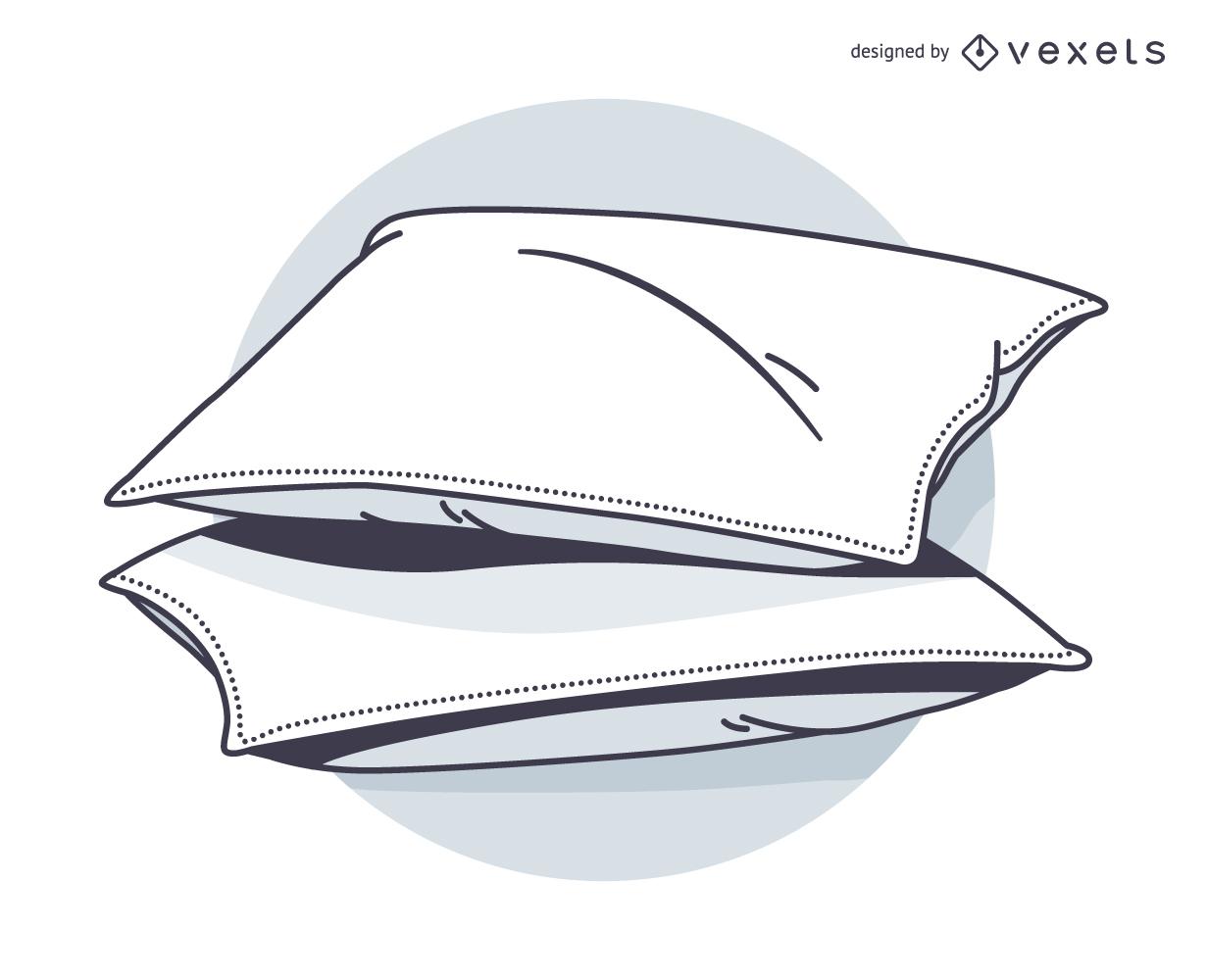 Desenho de travesseiro e vamos dormir