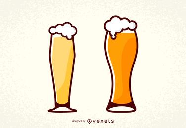Par, alemão, pinta, copos cerveja