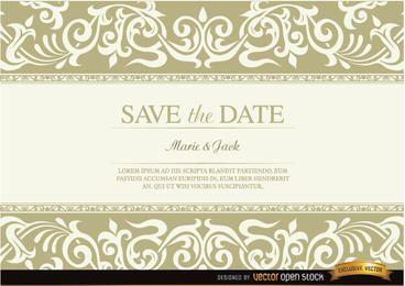 Invitación de boda con flecos florales.