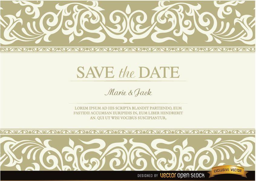 Invitación de boda con flecos florales