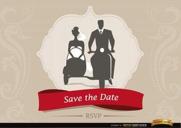 Convite de casamento com casal Sidecar