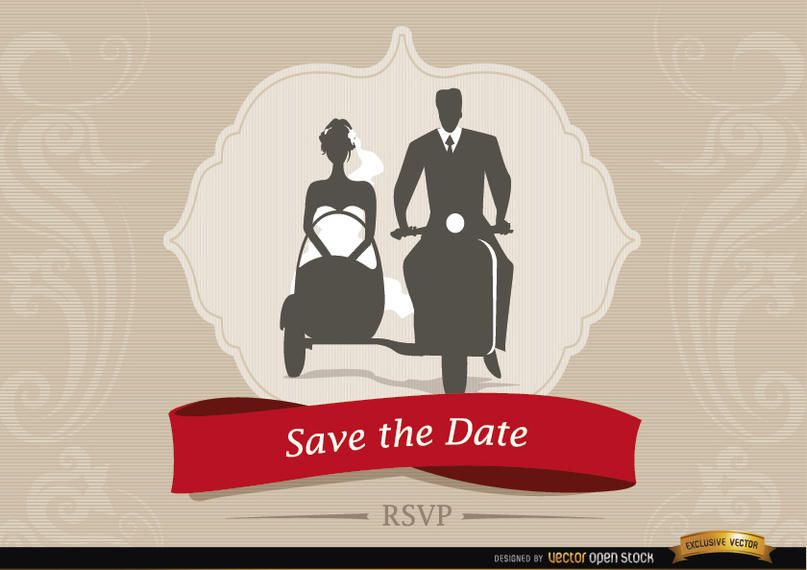 Invitación de boda con pareja sidecar