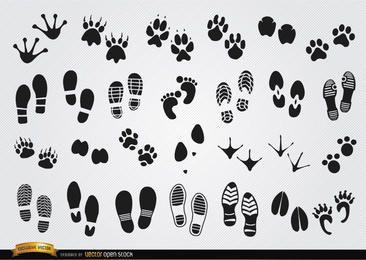 Pegadas silhuetas de seres humanos e animais