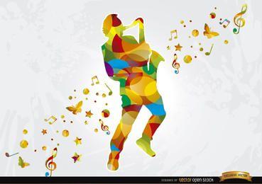 Fundo musical de saxofonista colorido