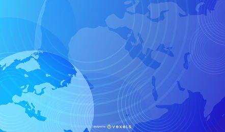 Fondo azul del negocio del borde con curvas del globo