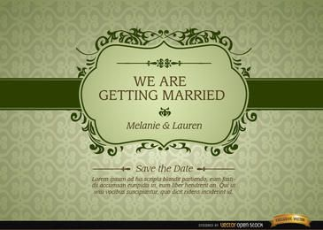 Convite de casamento com quadro floral