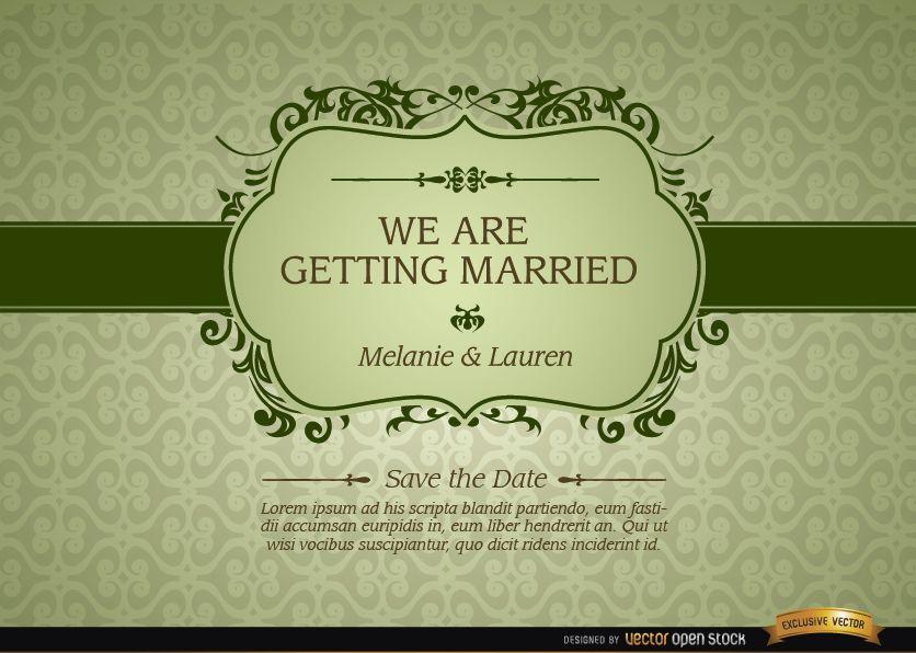 Invitaci?n de matrimonio con marco floral