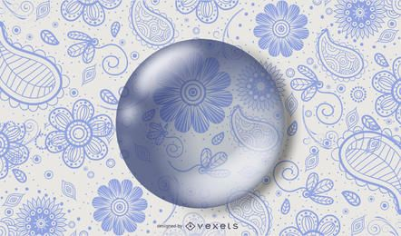 Kids Drawn Floral Pattern Water Drop