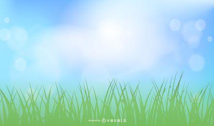 Céu ensolarado realista com terreno gramado