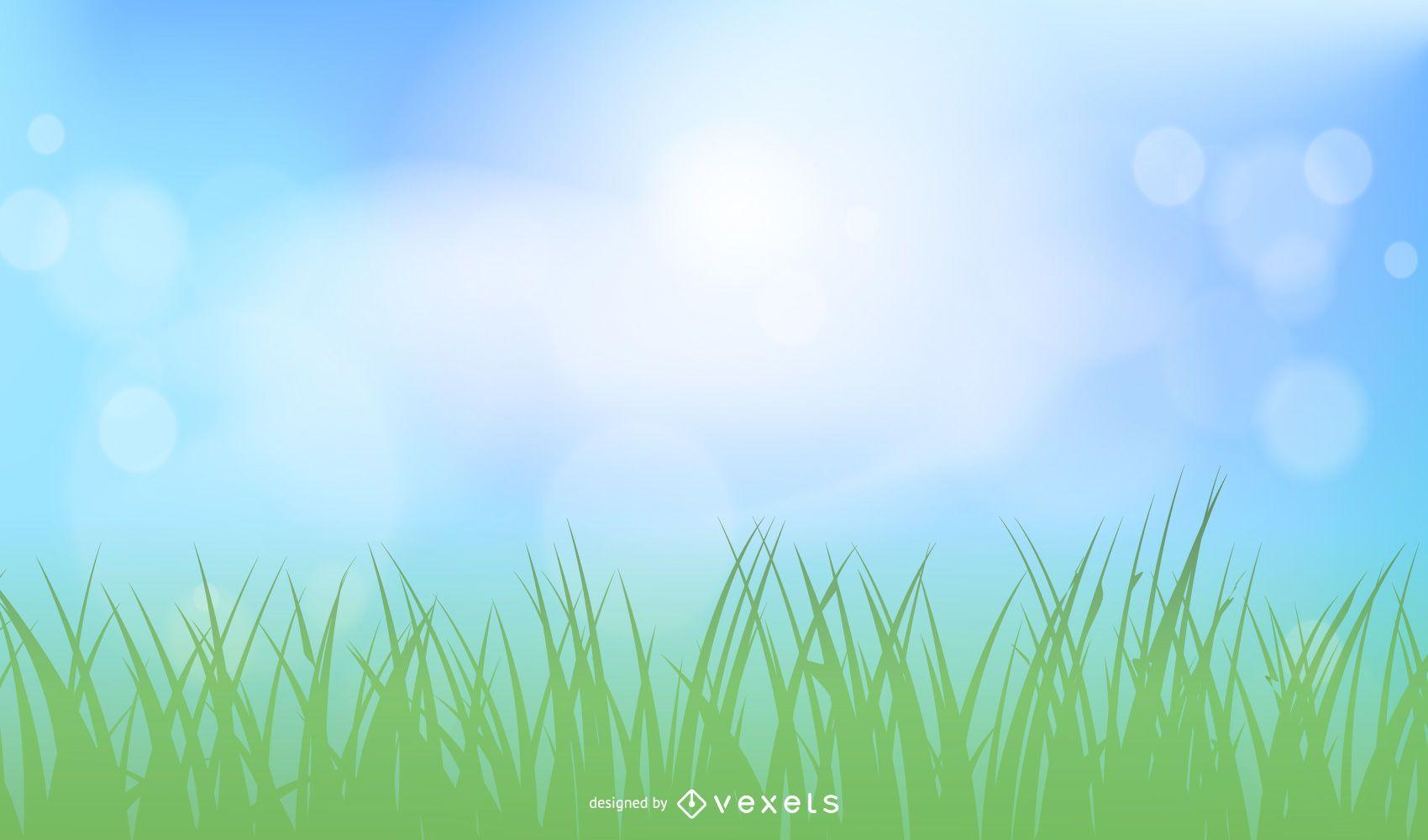 Realista cielo soleado con césped