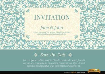Convite de casamento com padrão de moldura elegante