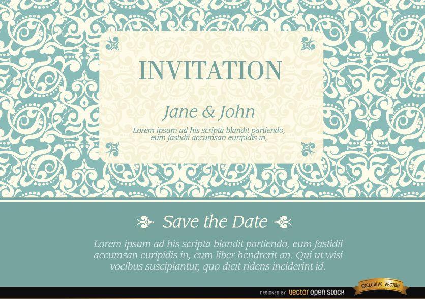 Invitación de matrimonio con patrón de marco elegante
