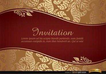 Convite de casamento com fita e padrão