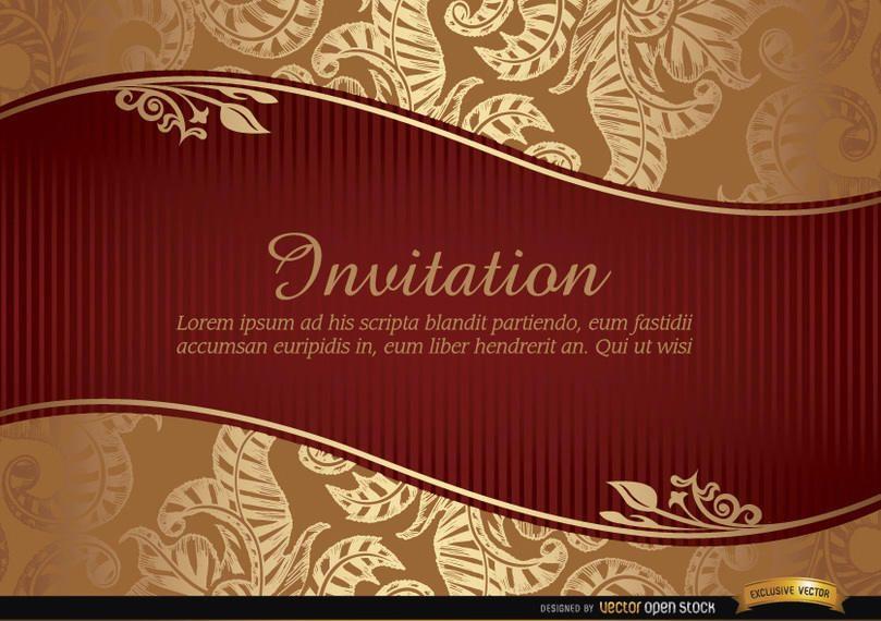 Convite de casamento com riband e padrão