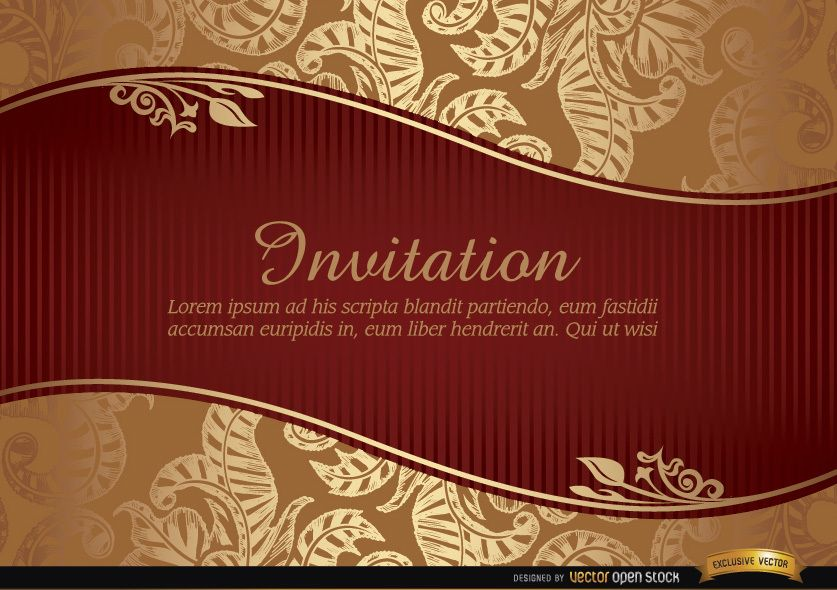 Marriage Invitation With Riband And Pattern Vector Download