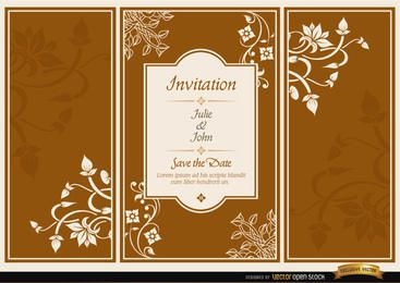 Convite de casamento de folheto tríptico floral