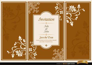 Floral invitación de boda folleto tríptico