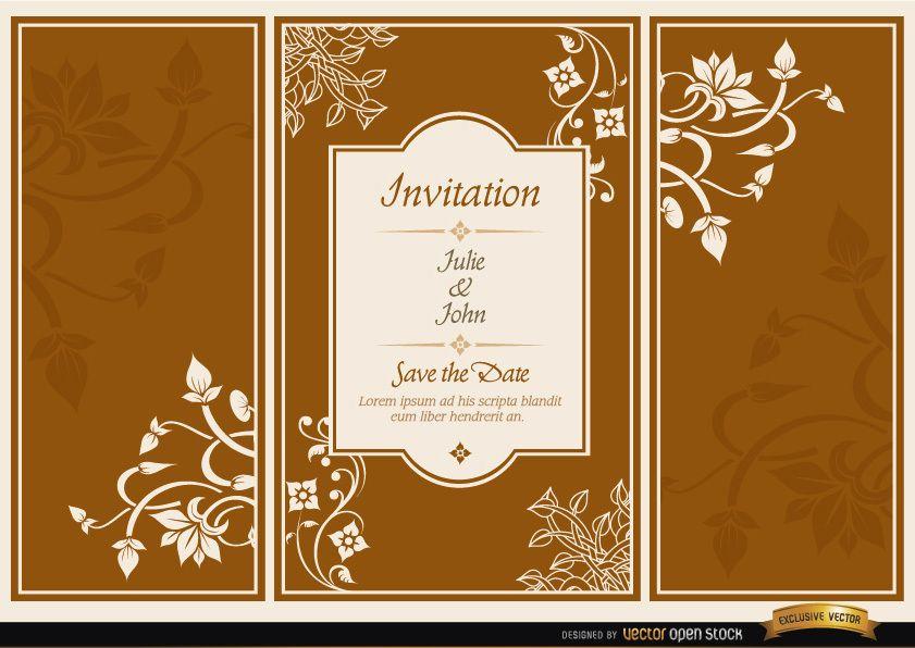 Invitación de boda de folleto tríptico floral