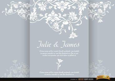 Folleto tríptico floral invitación matrimonio.