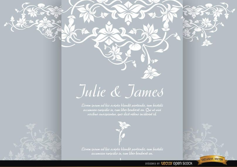 Floral triptych brochure marriage invitation - Vector download