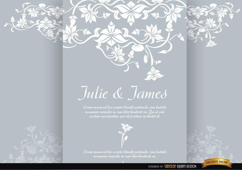 Invitación de matrimonio de folleto tríptico floral