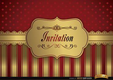Convite vermelho do casamento franjas quadro dourado