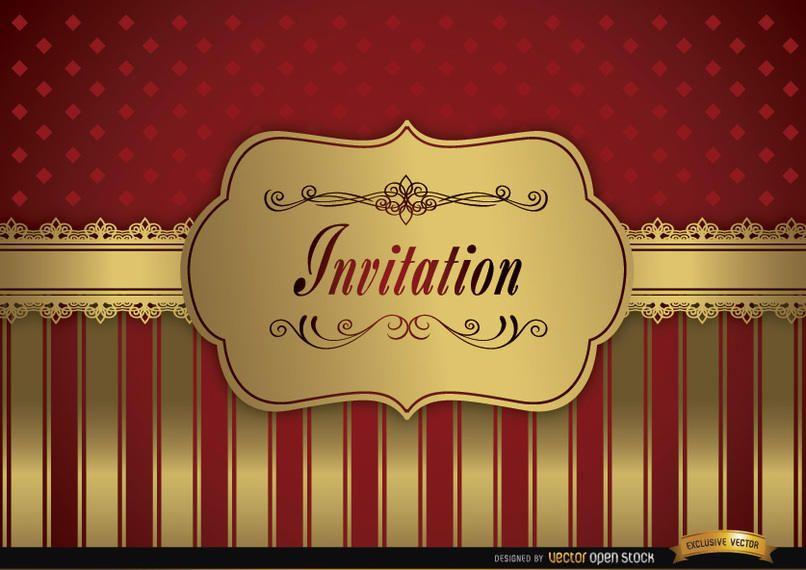 Wedding invitation red golden frame fringes