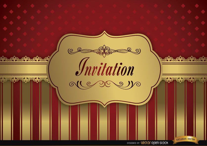 Invitación de la boda rojos flecos marco de oro - Descargar vector