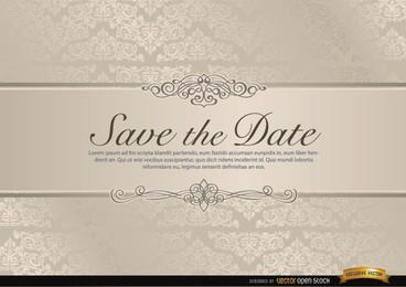 Invitación de boda con riband floral.