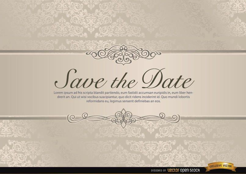 Convite de casamento com riband floral