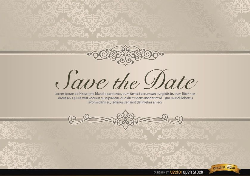 Invitación de boda con riband floral