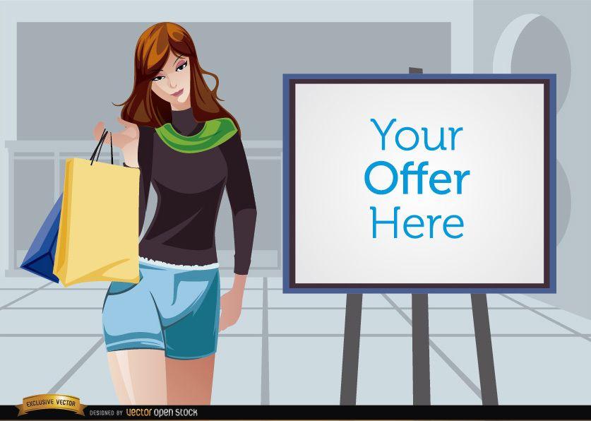 Chica de compras al lado de la pantalla de promoción
