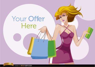 Mulher dos desenhos animados de compras com círculos de oferta