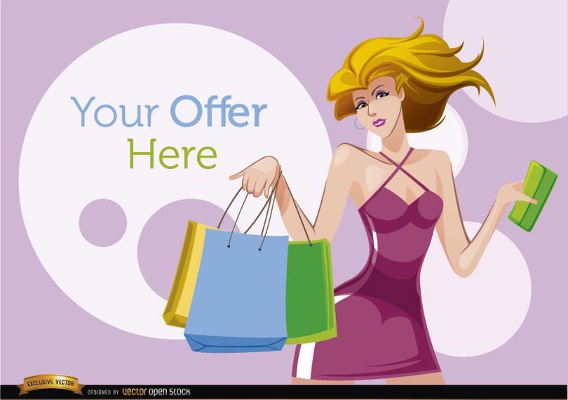 Compras mujer de dibujos animados con círculos de oferta