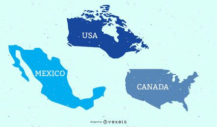 USA Canada & Mexican Flat Map