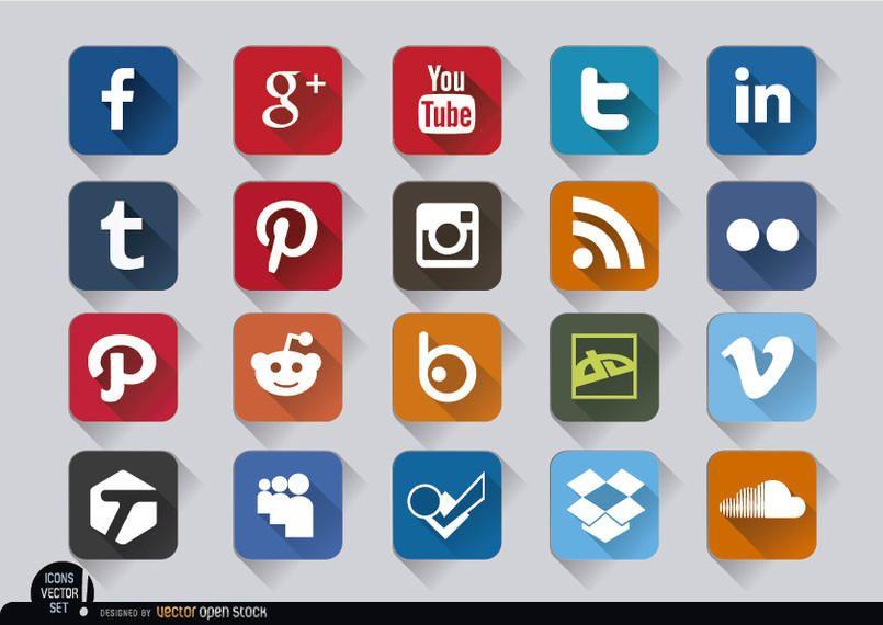 Conjunto de ícones quadrados em relevo de mídia social