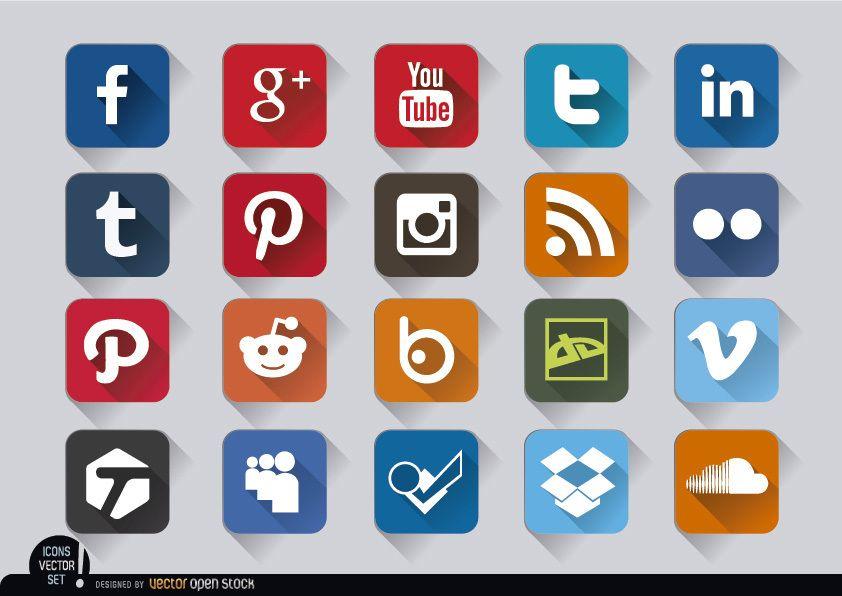 Geprägte Symbole des quadratischen Social Media setzen