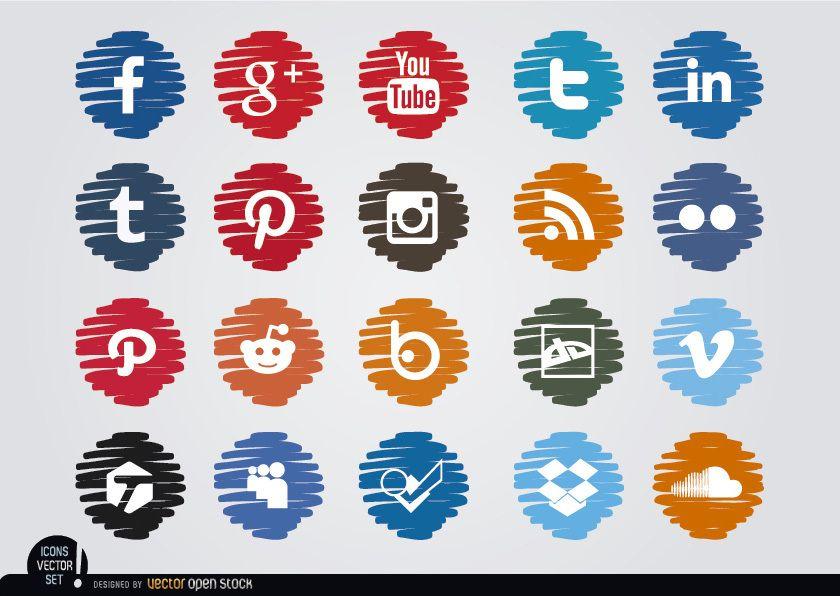 Social media distorted circle icons set