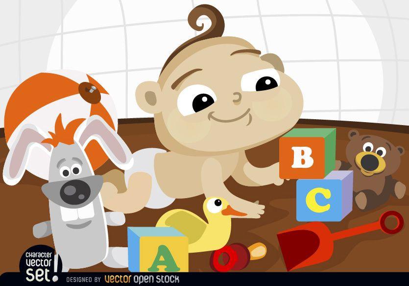 Bebé de dibujos animados jugando con juguetes
