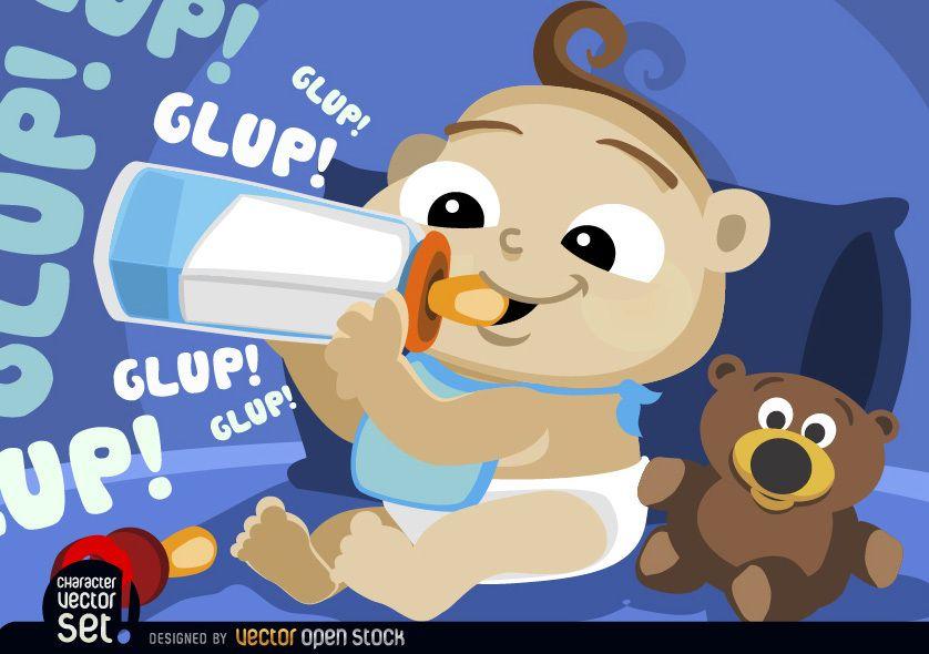 Baby drinking milk in feeding bottle